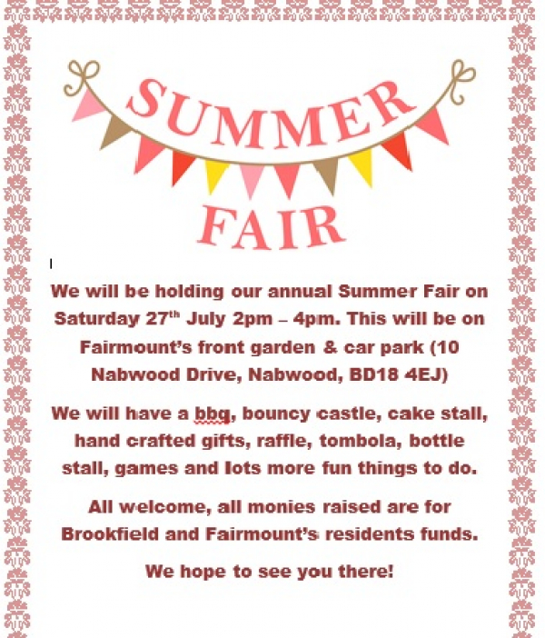 Summer Fair - Saturday 27th July 2-4pm