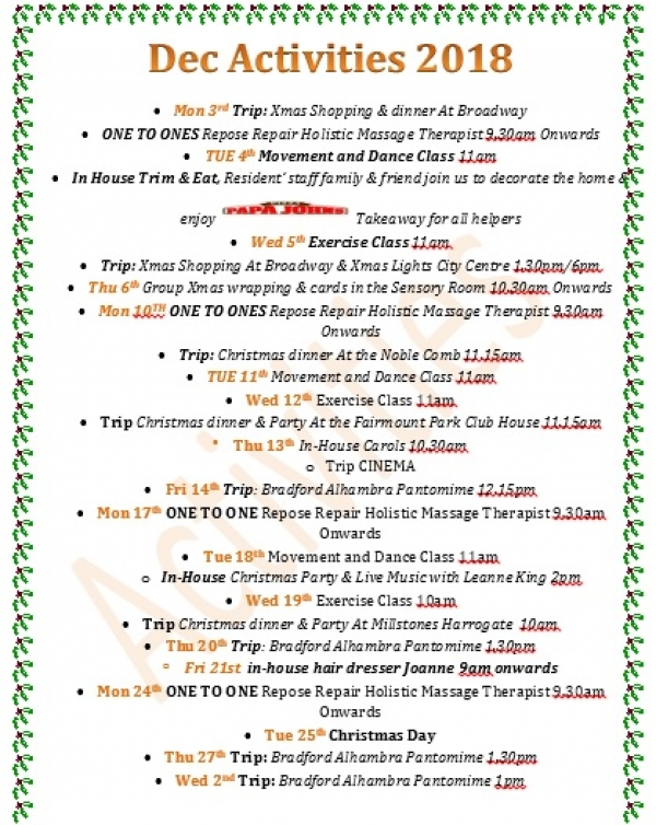 A fun packed festive schedule at Staveley Birkleas Nursing Home