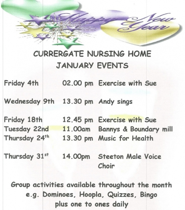 There's lots happening at Currergate Nursing Home in January