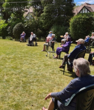 Brookfield Care Home get into the swing of it with socially distanced musical performance
