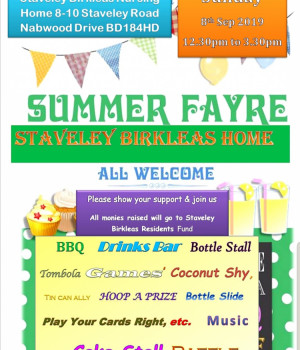 Staveley Birkleas Summer Fair on Saturday 8th September 12.30 - 3.30pm.